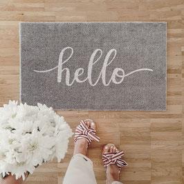 """Eulenschnitt - Waschbare Fußmatte """"Hello"""" - 45 x 75 x 0,5 cm"""