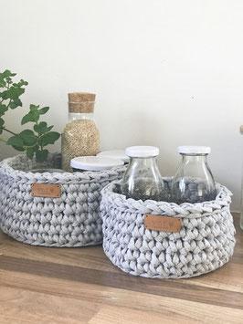 vnf handmade - Korb Recycling in drei Größen - Hellgrau