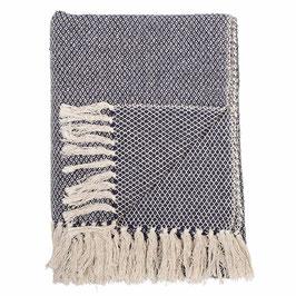 Bloomingville - Decke Recycled Baumwolle - Dunkelblau mit Muster