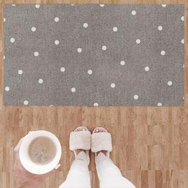 """Eulenschnitt - Große waschbare Fußmatte """"Weiße Punkte"""" - 67 x 120 cm"""