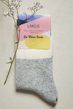 Lanius - Bio Socken Colourblock GOTS - Off White/Grey