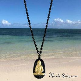 Collar Yoga Meditacion Obsidiana