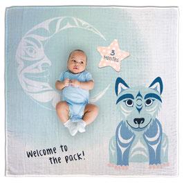 """Baby blanket met Milestone set """"Wolf"""""""