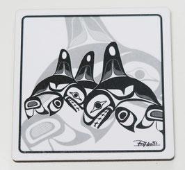 "Onderzetters (4) ""Many Whales"""