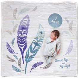 "Baby blanket met Milestone set ""Feathers"""