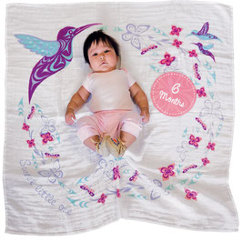 "Baby blanket met Milestone set ""Hummingbird"""