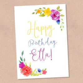 Postkarte -Boho Birthday- individualisierbar