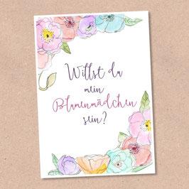 Postkarte - Blumenmädchen -