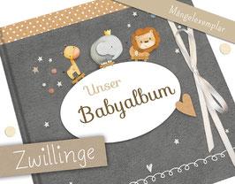 Mängelexemplar: Zwillingsalbum mit Schleife in beige