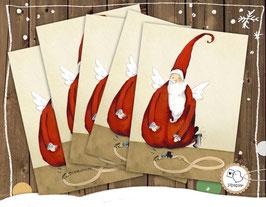 """5 Weihnachtskarten """"Weihnachtsmann"""""""