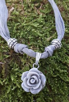 Seidenband Crinkle-Seide im Boho-Style Blume