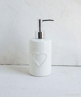 Porta sapone liquido in ceramica bianca con decoro cuore