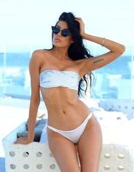Bikini fascia paillettes bianco