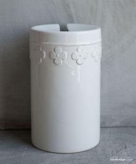 Porta scopino in ceramica bianca decoro fiore