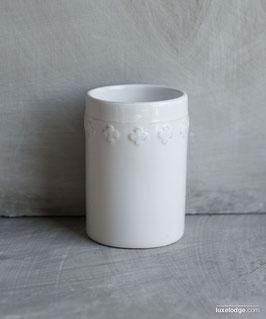 Porta spazzolini da denti in ceramica bianca decoro fiore