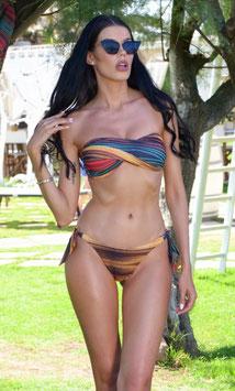 Bikini fascia incrociata multilinee