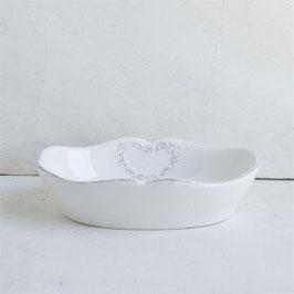 Porta saponetta in ceramica bianca con decoro cuore