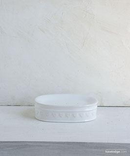 Porta sapone  in ceramica bianca con decoro cuori