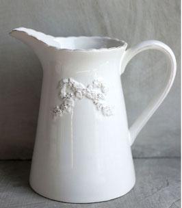 Brocca porta scopino in ceramica bianca decoro fiocco