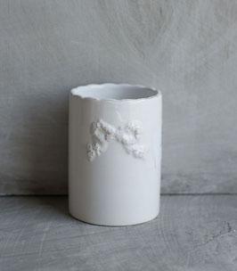 Porta spazzolini da denti in ceramica bianca con decoro fiocco