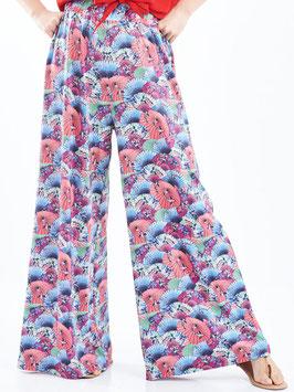S2029409 Fasna pantaloni palazzo con elastico in vita e stampa floreale
