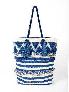 S2021439 bag da spiaggia blu con nappe, manico e inserti in tessuto