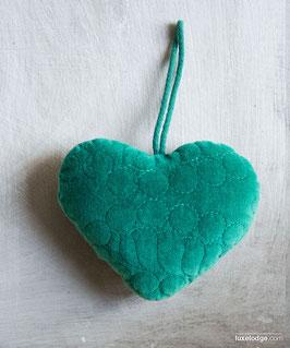Decoro cuore in velluto verde scuro
