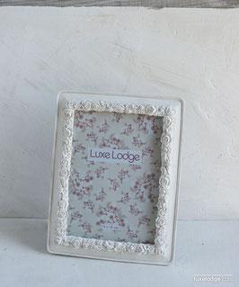 Portafoto bianco anticato con decoro roselline