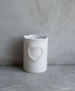 Porta spazzolini da denti in ceramica bianca con decoro cuore floreale