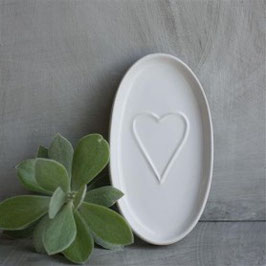 Porta sapone in ceramica con decoro cuore