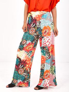 S2029411 Litsa pantaloni palazzo floreali con dettaglio cintura