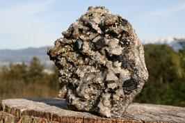 Mineraliengruppe mit Bergkristall Pyrit Calcit und Zinkblende