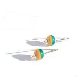 "Boucles d'oreilles ""Itsasoa"" Bleu canard triangle"
