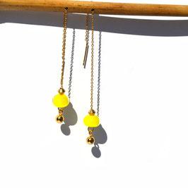 """Boucles d'oreilles """"Vénitiennes""""  -  Jaune citron"""
