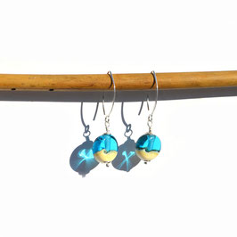 """Boucles d'oreilles """"Itsasoa"""" Bleu turquoise courtes"""