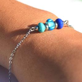 """Bracelet """"Trio"""" Bleu"""