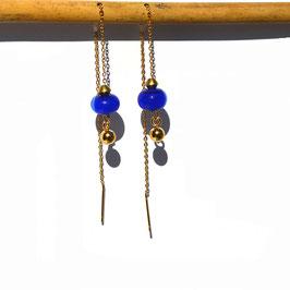 """Boucles d'oreilles """"Vénitiennes""""  -  Bleu électrique"""