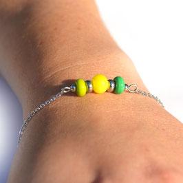 "Bracelet ""Trio"" Jaune-Vert-Anis"
