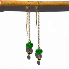 """Boucles d'oreilles """"Vénitiennes""""  -  Vert bouteille"""