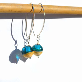 "Boucles d'oreilles ""Itsasoa"" Turquoise longues"