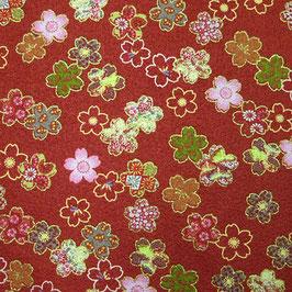 Tissu japonais gaufré : Petites fleurs de sakura ( Réf GAU6  )
