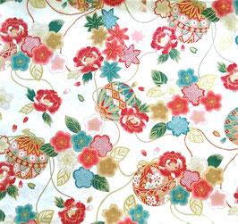 Tissu japonais : Ballons et les fleurs de camélias EB2