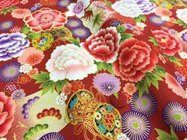 Tissu japonais : Fleurs -Tambour ( Réf F11-4 ) Rouge brique