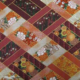 Tissu japonais : Fleurs en motif patchwork  F14