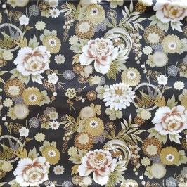 Tissu japonais : Les fleurs de Dahlia et Pivoine  F30