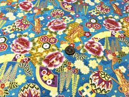 Tissu japonais : Fleur et petits ballons F26