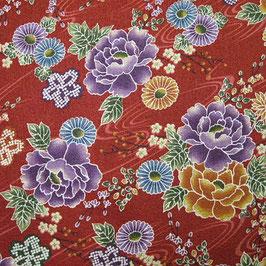 Tissu japonais gaufré : Fleurs de pivoine GAU2