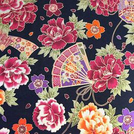 Tissu japonais : Evantail et rose ( Réf EB8 )