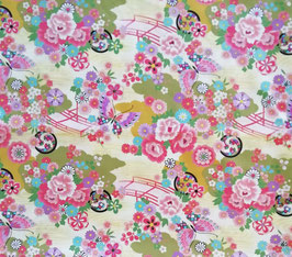 Tissu japonais : Papillons sur le pont F20