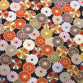 Tissu japonais : Petites fleurs de KIKU (菊 chrysanthèmes)   F10